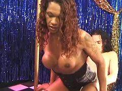 Black transsexual ass slammed by long white cock