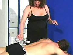 Old transsexual slut gives titsjob before anal sex