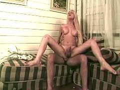 Blonde transsexual slut gets fucked and facialed