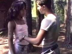 Brunette tranny gets fucked and facialed outdoor